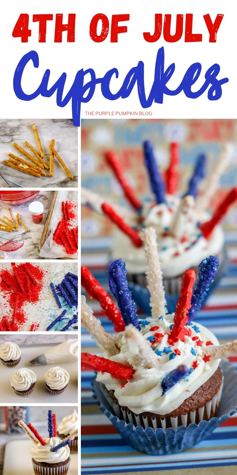 A collage of steps demonstrating how to make red white and blue fireworks cupcakes