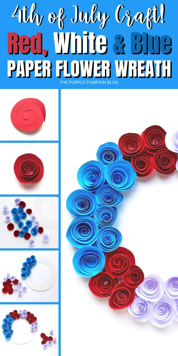 Step by step pictures showing how to make a paper flower wreath for 4th of July