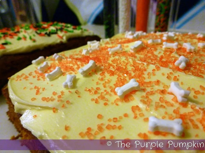 Halloween Pumpkin Cake with orange, and bone sprinkles