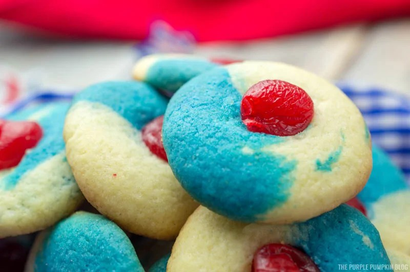 Close up of cherry almond cookie.