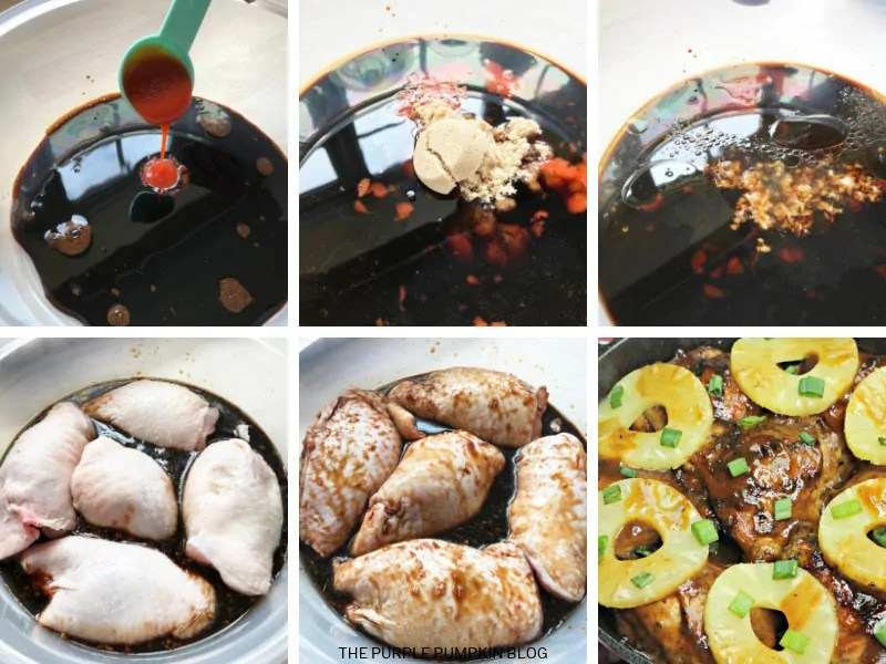 Recipe Card images for Hawaiian Chicken showing marinade, chicken pieces in marinade, and finished dish.
