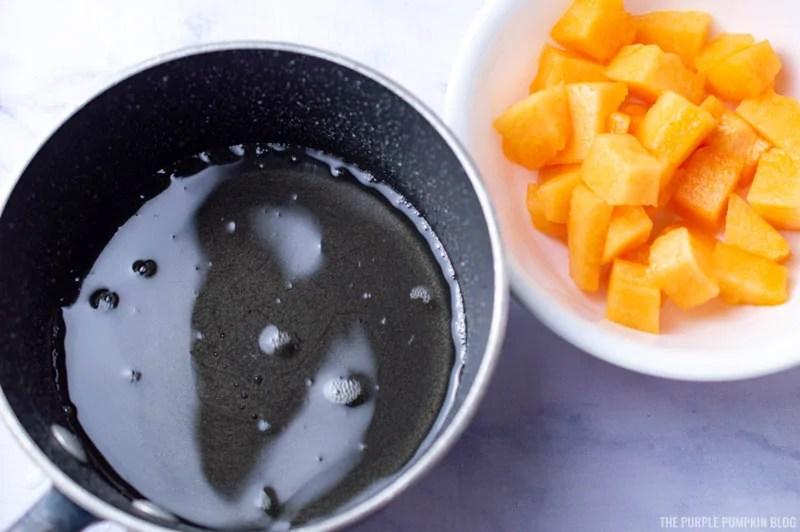 Sugar Syrup and Chopped Cantaloupe Melon