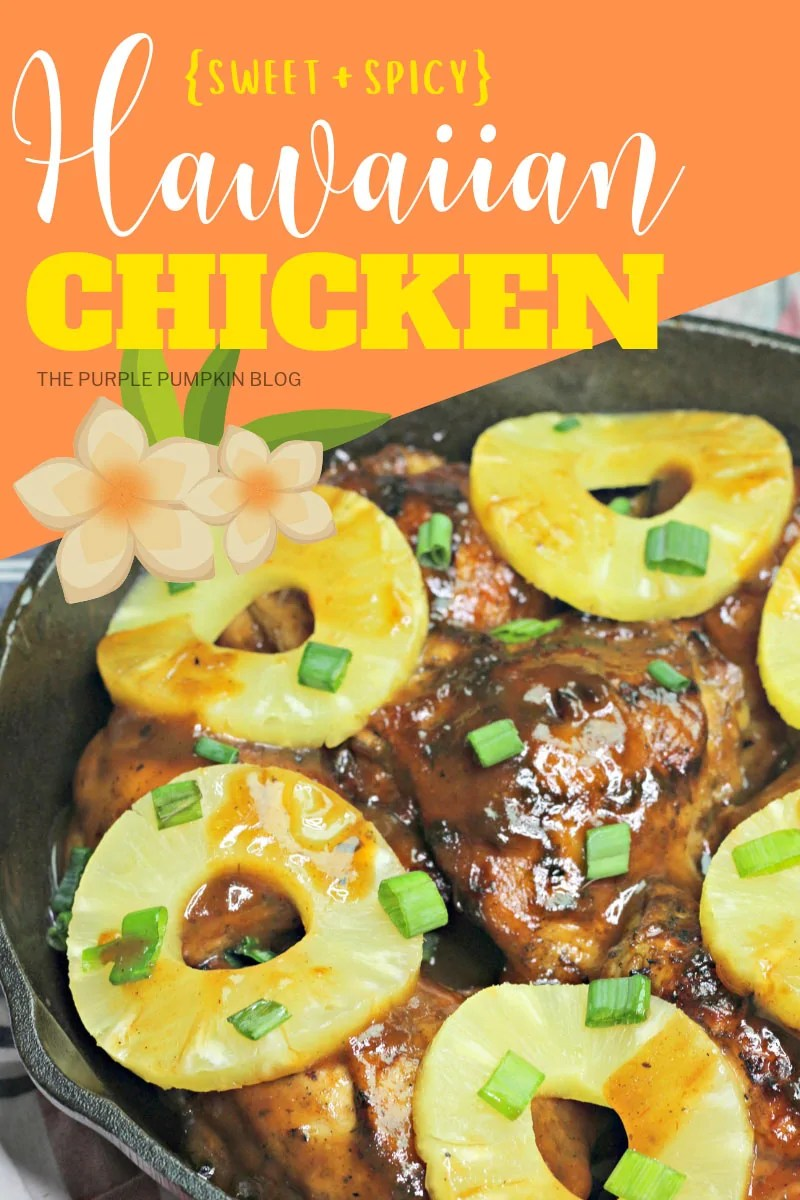 Grilled chicken in a skillet topped with pineapple rings