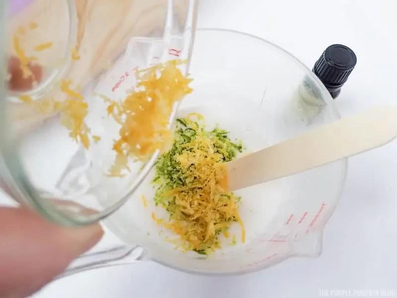 Adding lemon zest to soap base