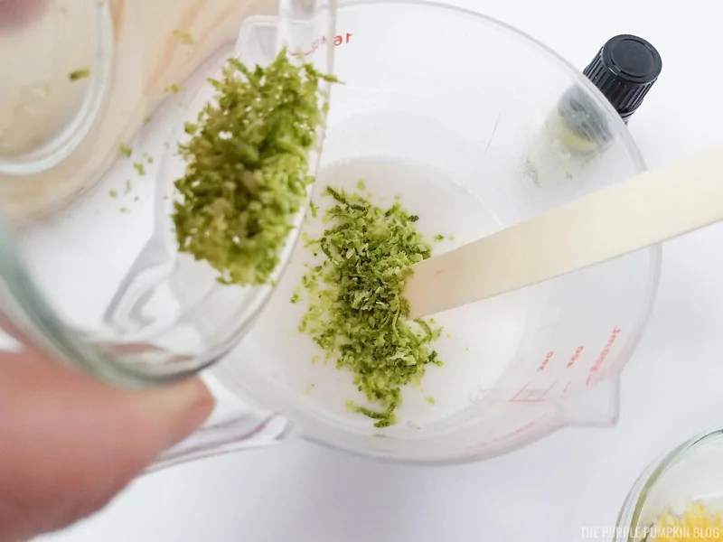 adding lime zest to soap base