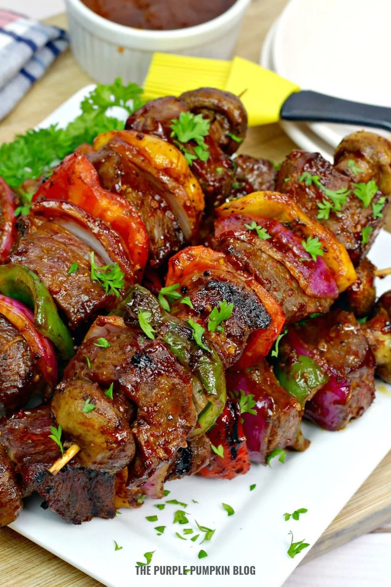 Bourbon Steak Kebabs on a plate