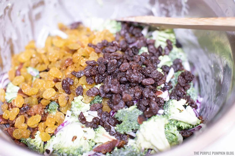 Raisins added to broccoli bacon salad