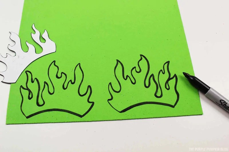 Tracing Green Flames - Remember to Flip the Template!