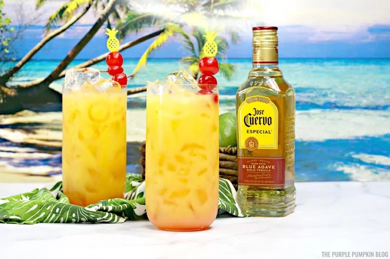 2 glasses of Hawaiian Margarita and a bottle of Jose Cuervo Tequila