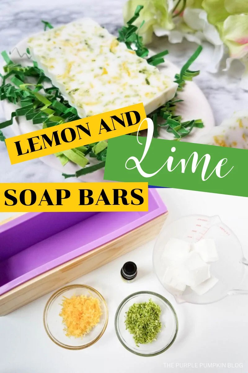 Lemon Lime Soap bar and ingredients to make it.