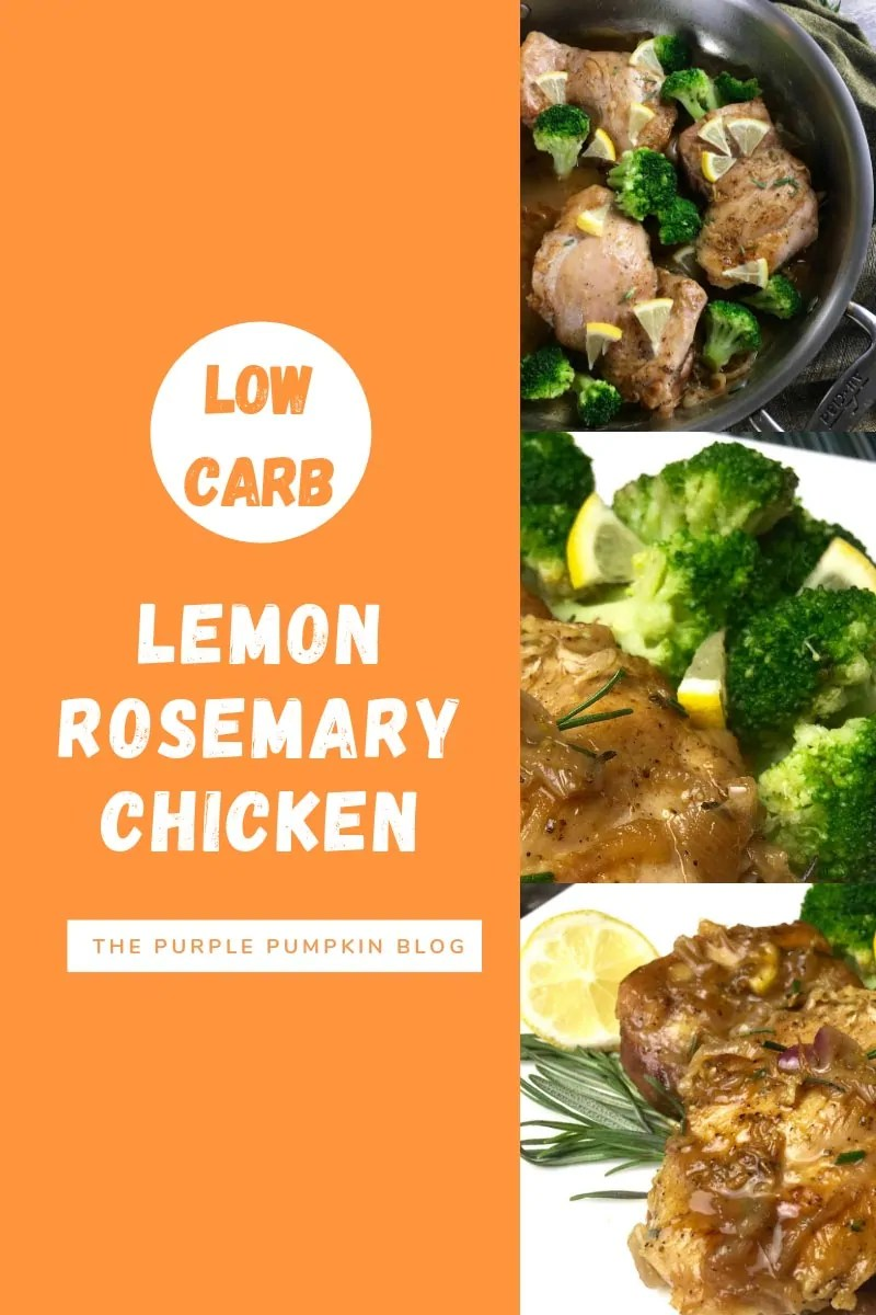 3 images so stages of cooking low carb lemon rosemary chicken thighs
