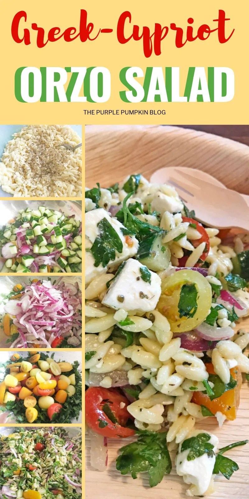 Greek Cypriot orzo salad - pictures of each step of the recipe.
