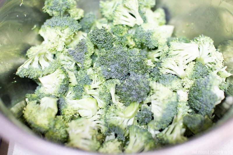 Bowl of raw broccoli florets