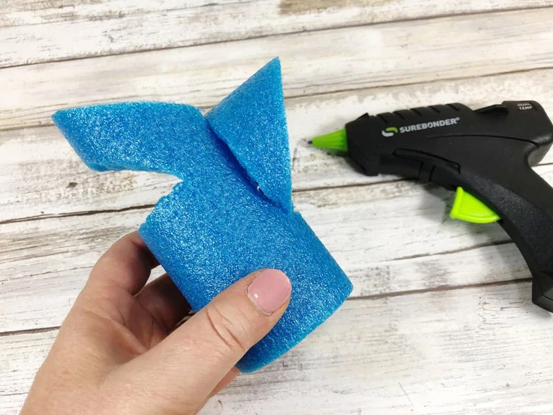 Pool noodle shark craft process - attaching fin