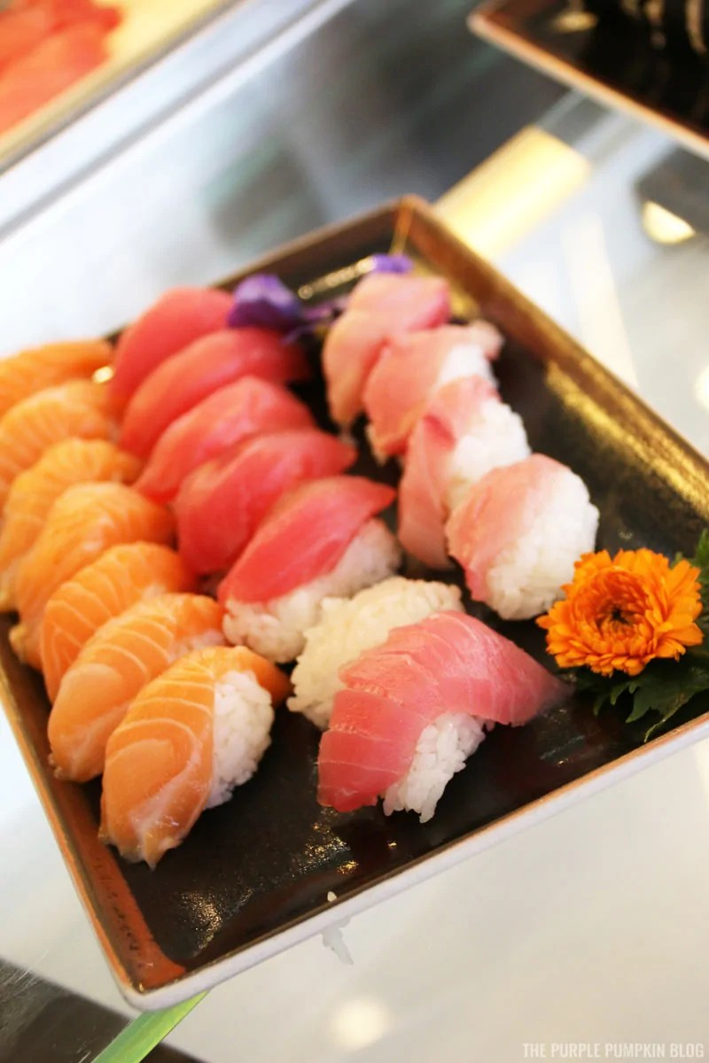 Salmon, Tuna, Shrimp Nigiri selections