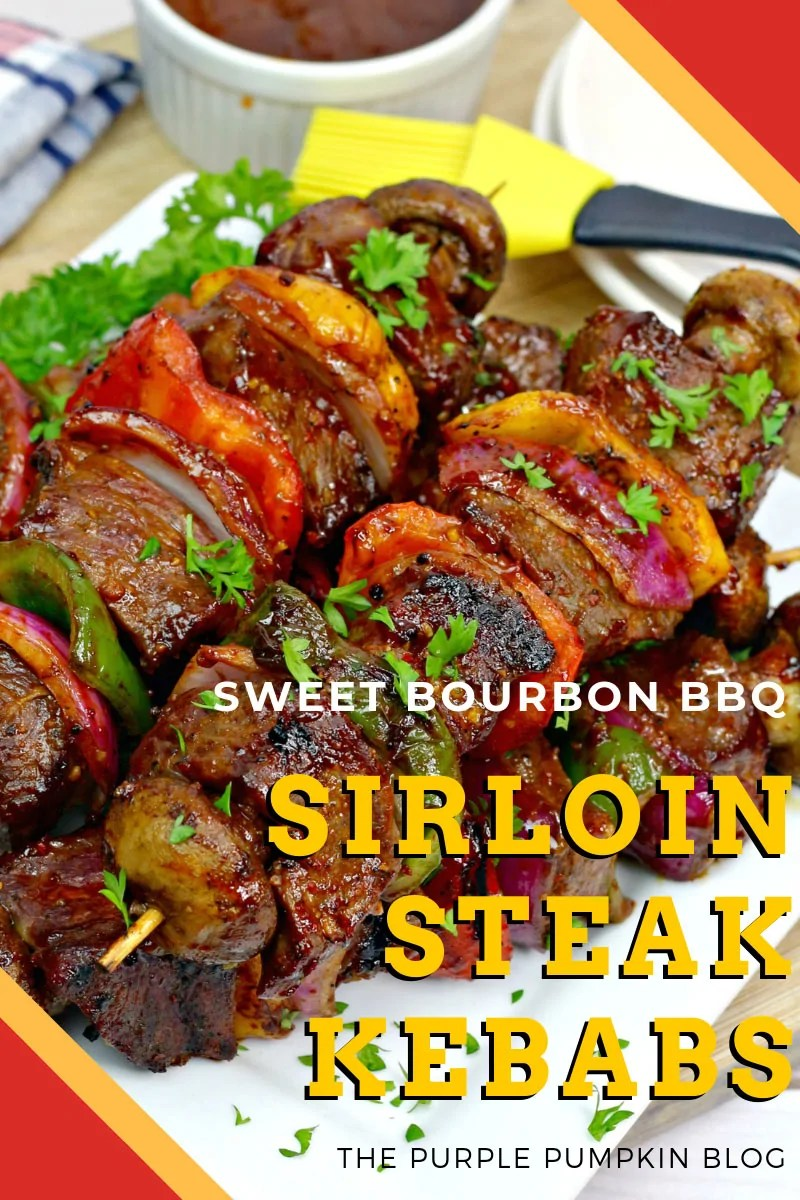 Sweet bourbon BBQ sirloin steak kebabs