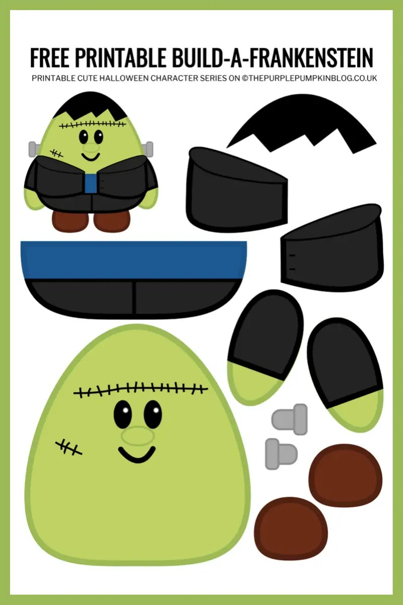 Use this free printable paper Frankenstein template to build-a-Frankenstein for Halloween!