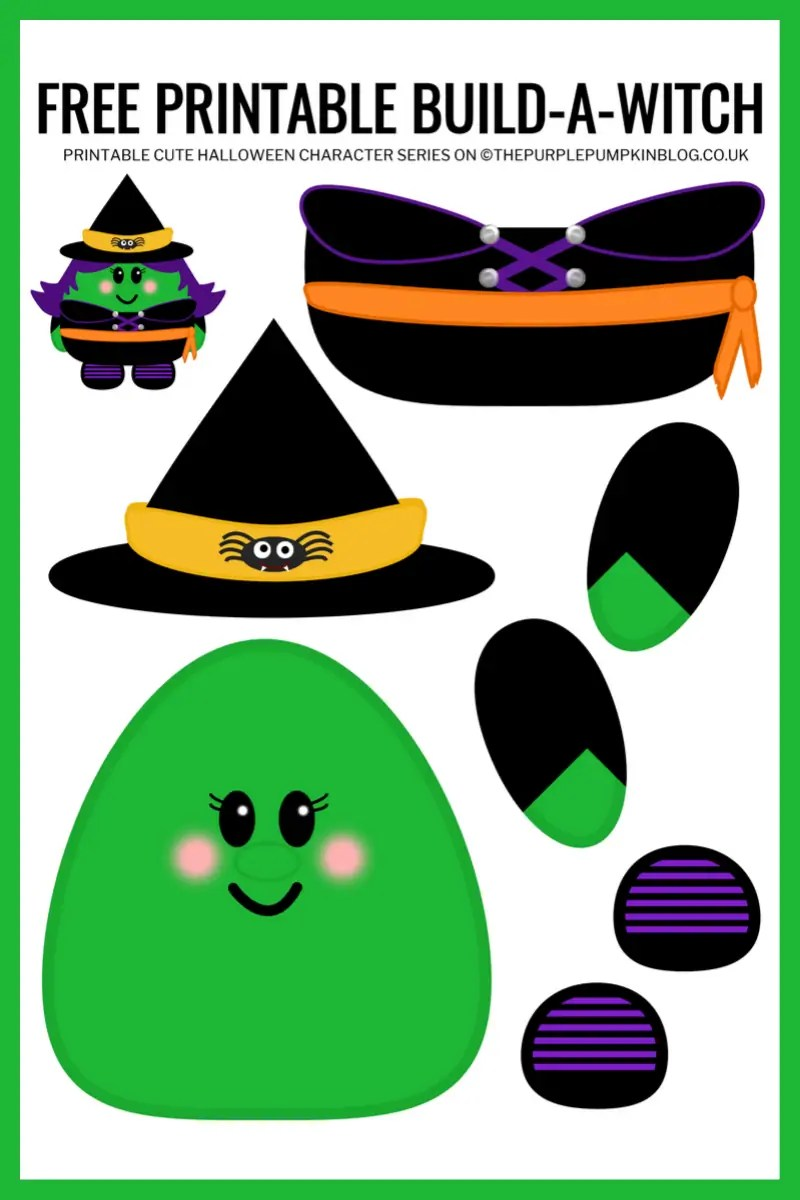 Use this free printable paper witch template to build-a-witch for Halloween!