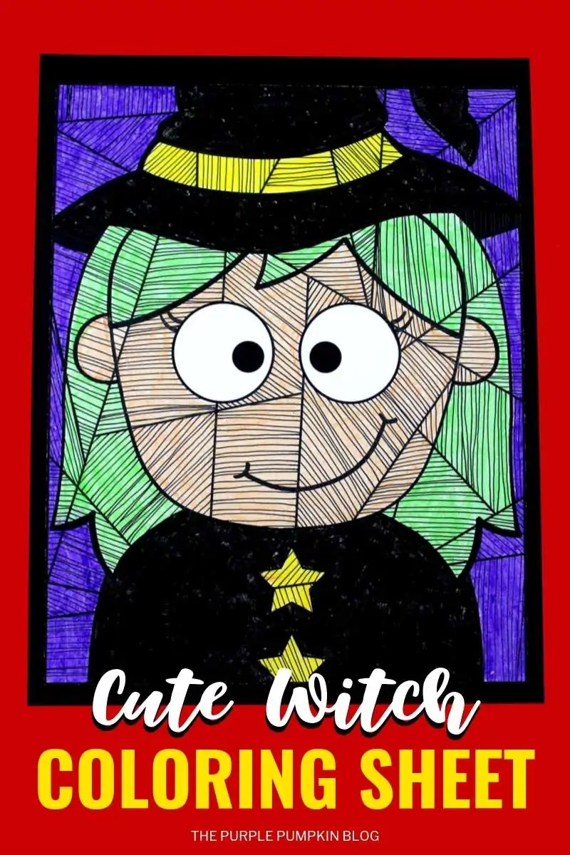 Cute witch colouring page
