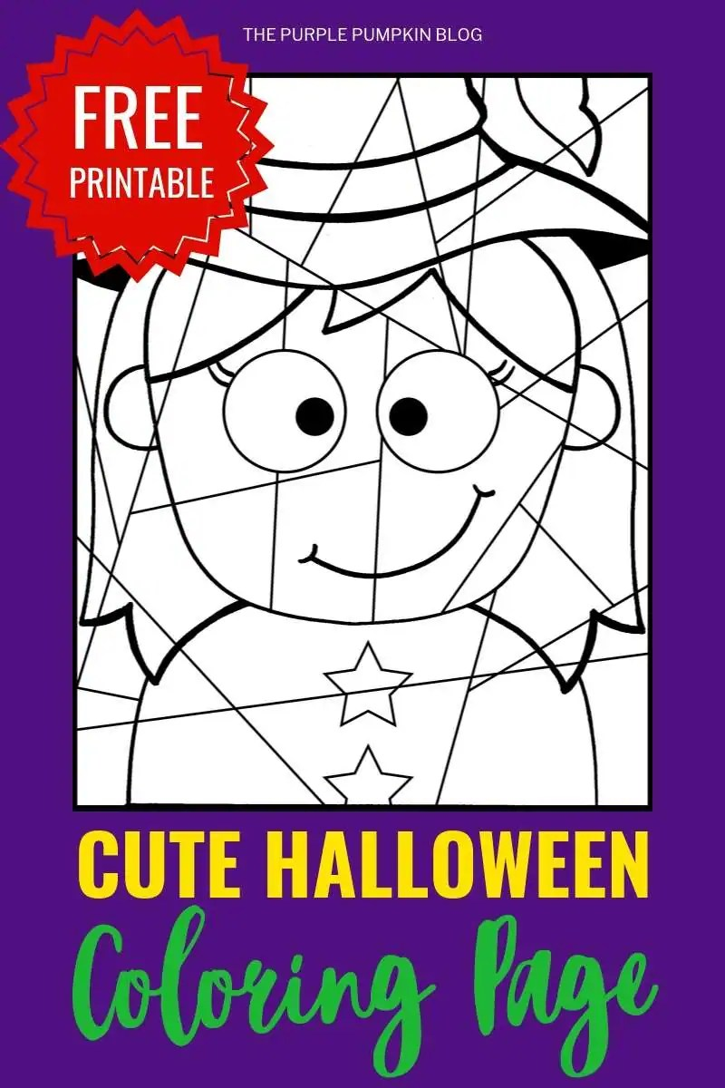 Witch - cute Halloween coloring page