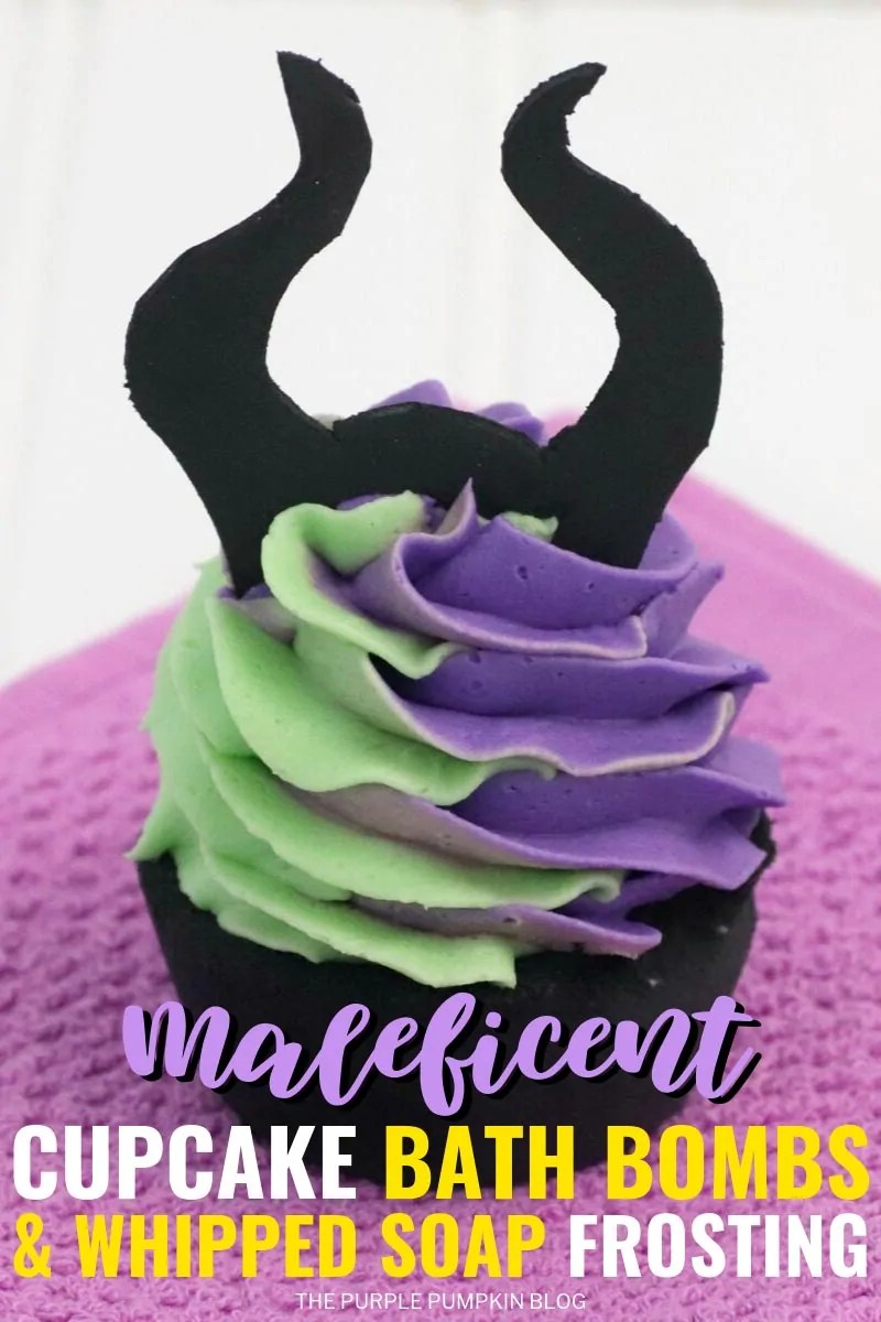 Maleficent Bath Bombs with Whipped Soap Frosting