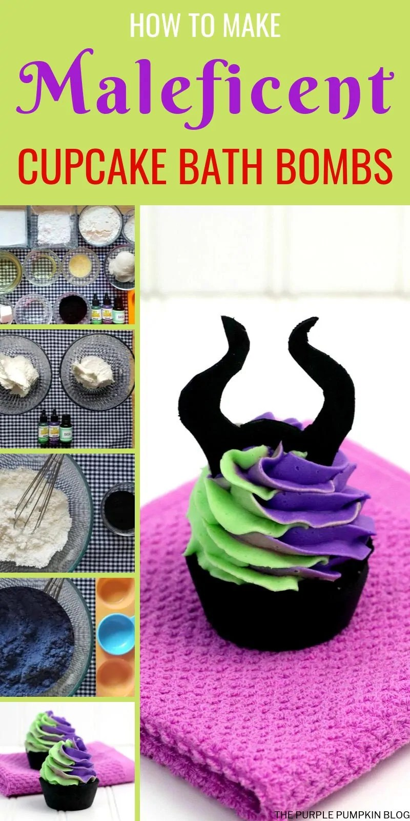 How to make Maleficent cupcake bath bombs