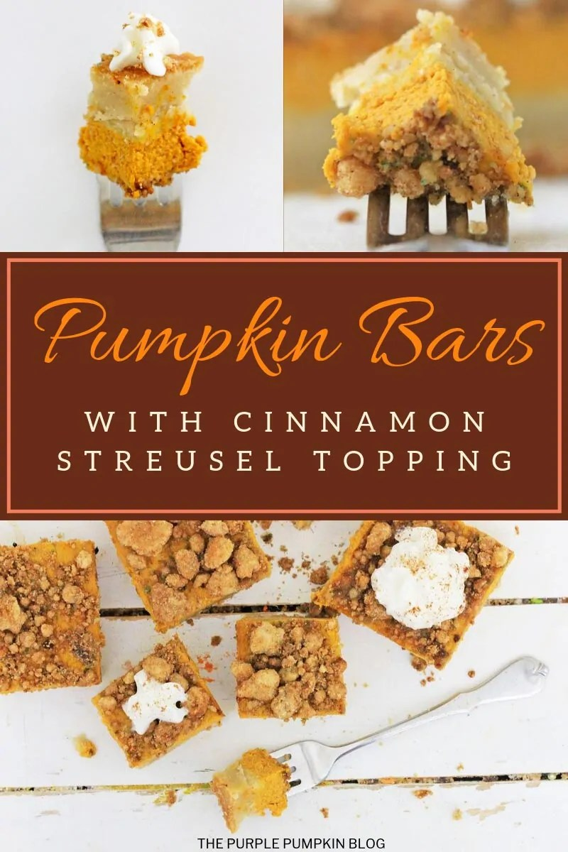 Pumpkin Bars with cinnamon streusel topping