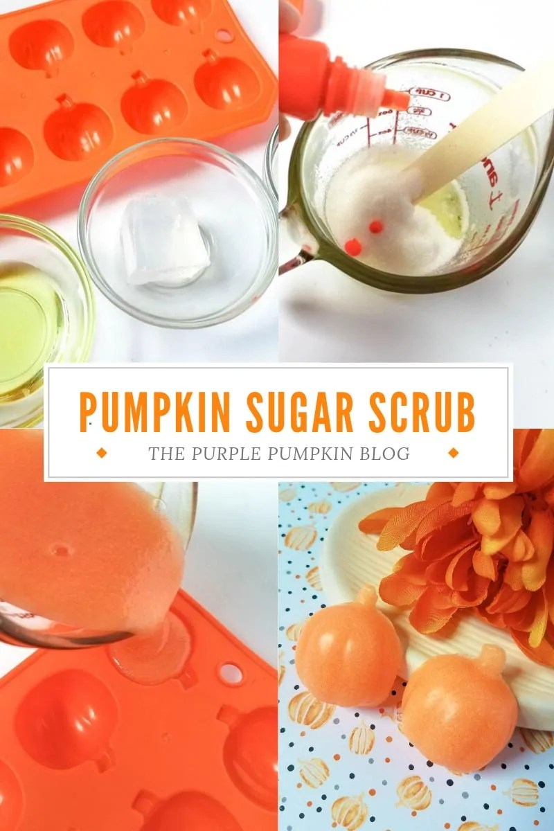 Images demonstrating how to make pumpkin sugar scrub