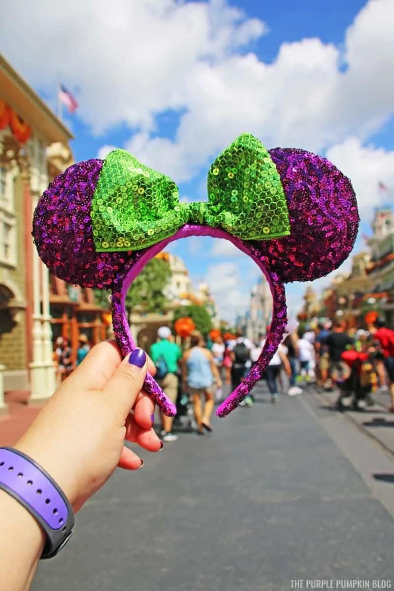 Purple & Green sequin Mickey Minnie Ears
