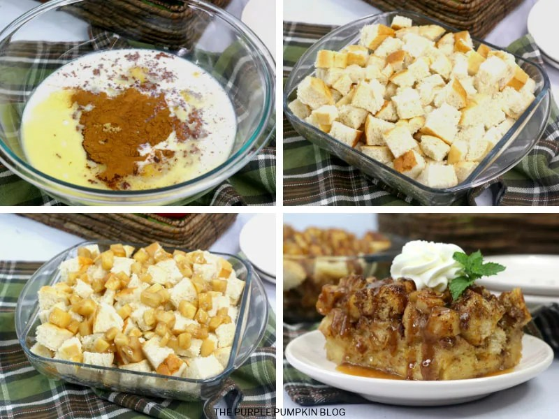 Recipe Card for Caramel Apple Bread Pudding