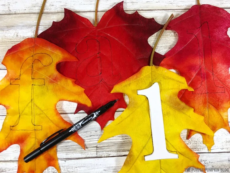 Tracing letters onto leaves