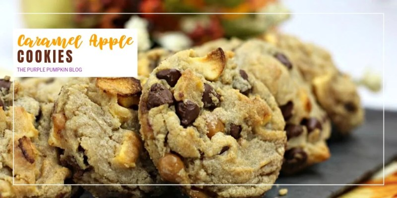 As if these Caramel Apple Cookies couldn't be any more awesome, and full of the flavors of fall, they also have chocolate chips in them which increases their awesomeness! They are easy to make and bake and who can resist the combination of caramel and apple together? A perfect pairing for autumn! Enjoy one or two (or more!) of these cookies with a glass of milk, or a hot cup of tea on a cool afternoon - irresistible! #CaramelAppleCookies #CookieRecipes #ThePurplePumpkinBlog #FallCookies