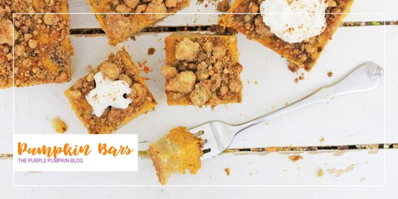This is such a great recipe for a quick homemade dessert. These easy-to-make pumpkin bars have a crunchy crust and a cinnamon streusel that melts in your mouth. The pumpkin filling in smooth and creamy, and when you get all these great components together, they just scream fall! #PumpkinBars #Desserts #ThePurplePumpkinBlog #DessertRecipes #FallDesserts