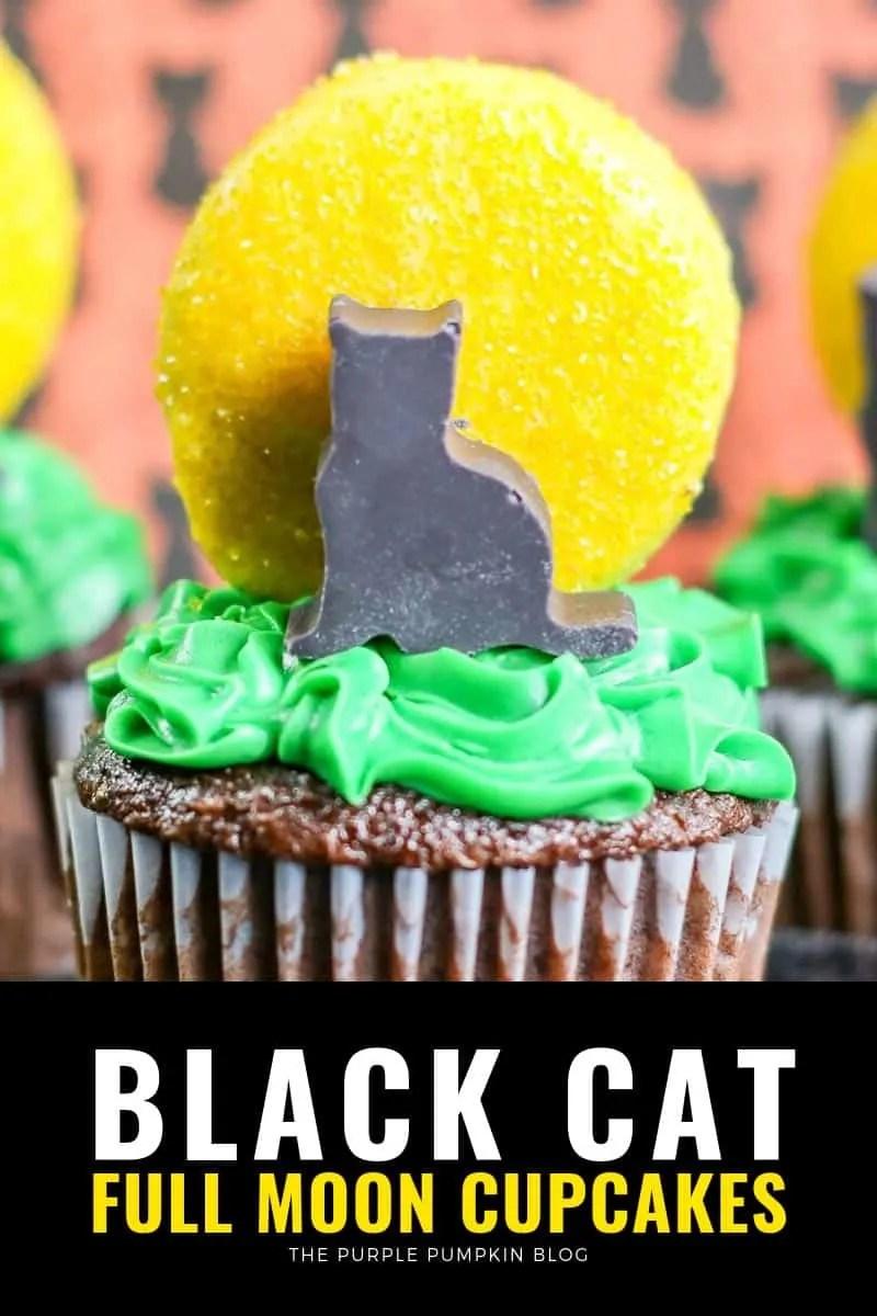 black cat full moon cupcakes