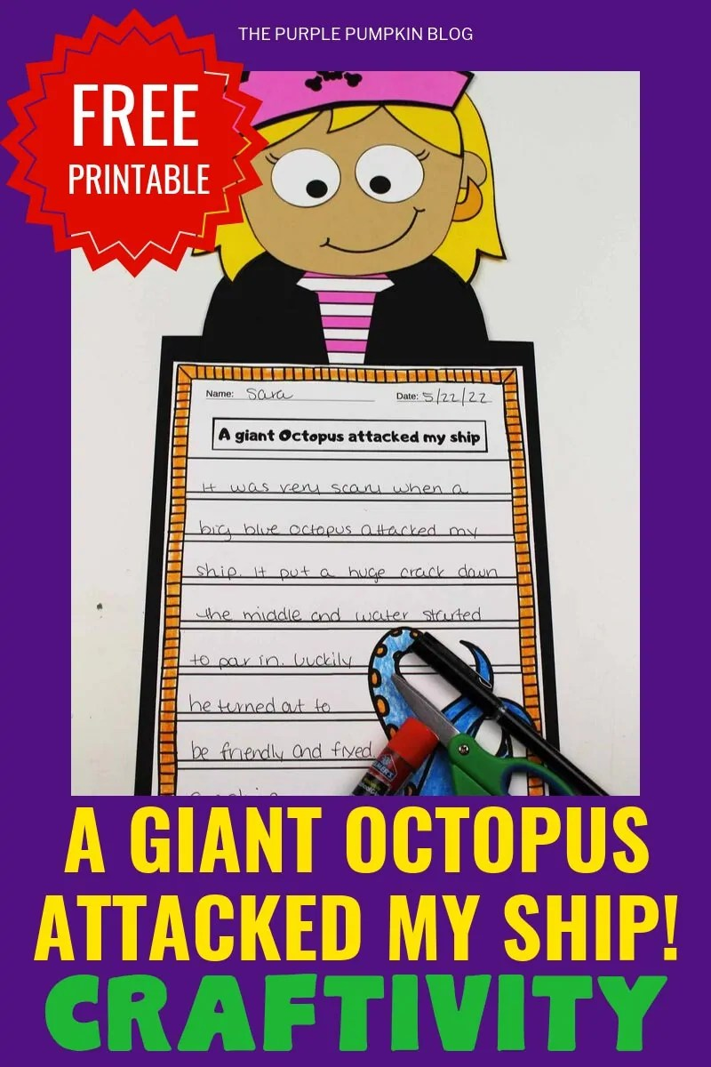 """Free Printable """"A Giant octopus attacked my ship"""" craftivity"""
