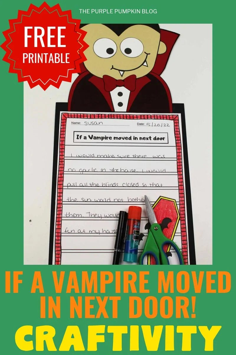 """Free printable """"If a vampire moved in next door"""" craftivity"""