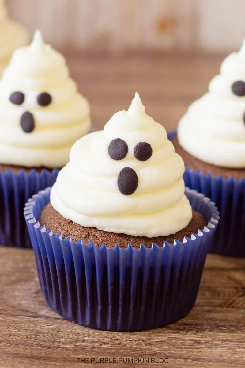 Cupcakes topped with marshmallow buttercream ghosts