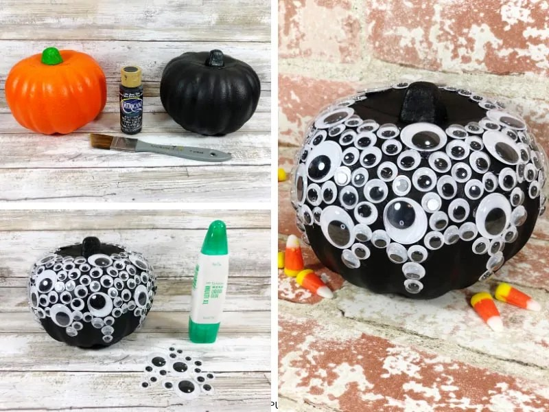Step by step photos demonstrating how to make Googly Eye Pumpkins