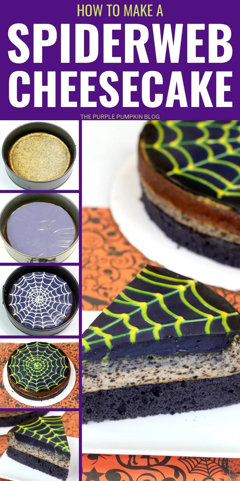 How to make a Spiderweb Cheesecake - with step by step images showing how.