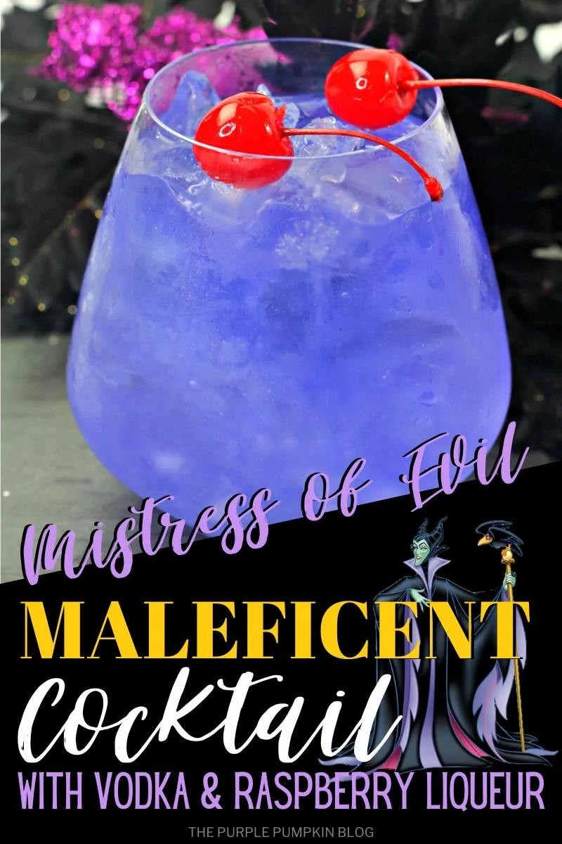 Mistress of Evil Maleficent Cocktail with Vodka & Raspberry Liqueur