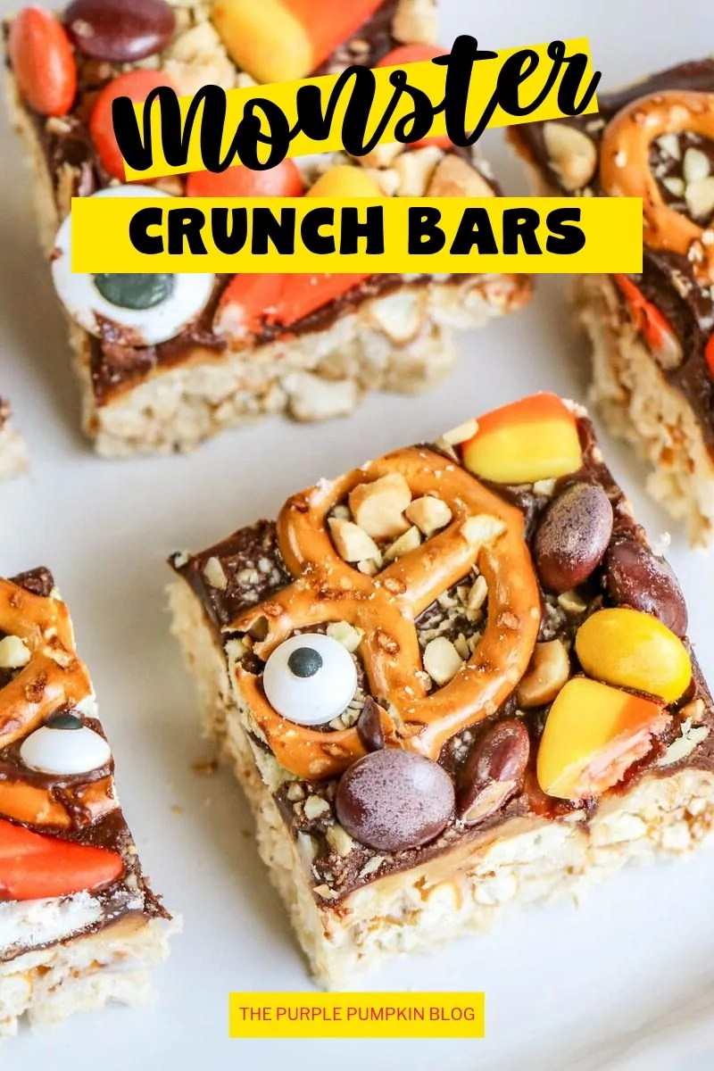 close up of monster crunch bars (Halloween Rice Krispies Treats)