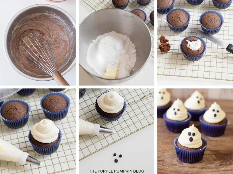 Recipe card with step by step photos demonstrating how to make ghost cupcakes