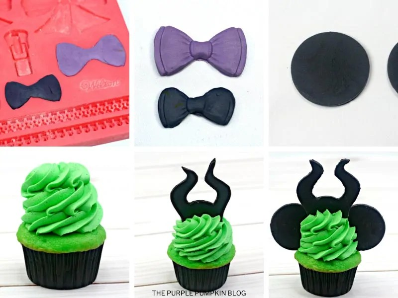 Recipe card with step by step photos demonstrating how to make Maleficent Cupcakes