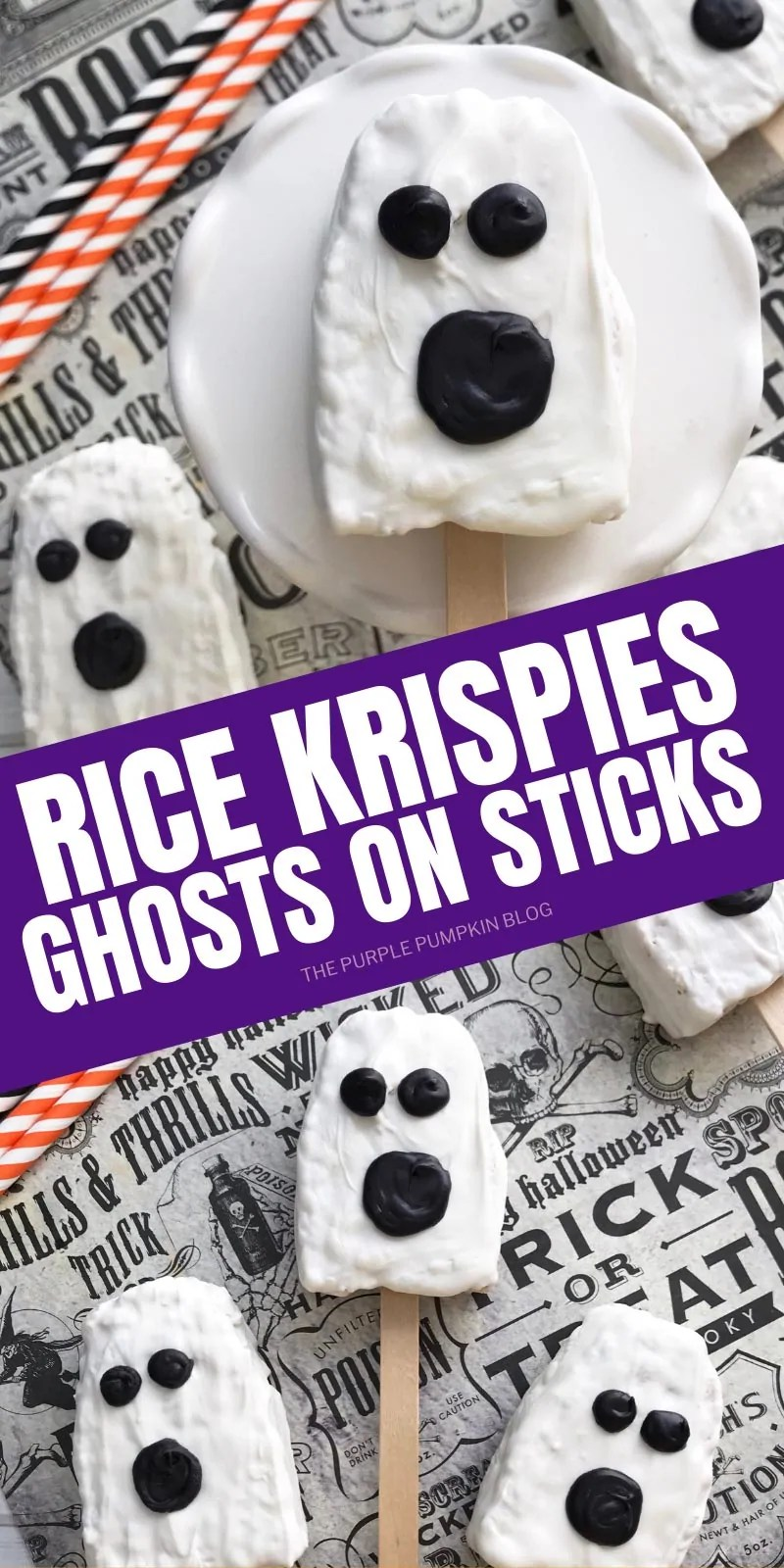 Rice Krispies Ghosts on Sticks