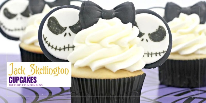 Make these Jack Skellington Cupcakes if you are throwing a Nightmare Before Christmas themed party! (Or if you're throwing a Halloween party - Jack is the Pumpkin King after all!) Vanilla cupcakes are topped with white frosting and decorated with a black bow and Mickey Ears featuring Jack's face - iconic! #JackSkellingtonCupcakes #HalloweenCupcakes #ThePurplePumpkinBlog #Cupcakes #Recipes #DIsneyCupcakes