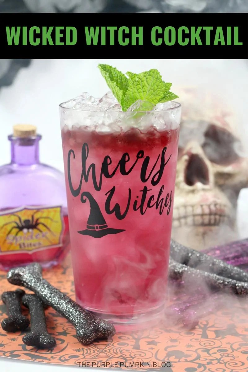 Wicked Witch Cocktail - red beverage in a glass with ice