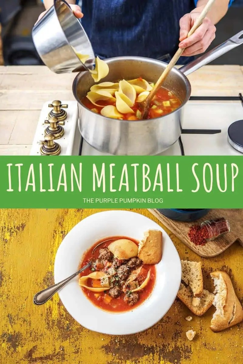 two photos - one showing the preparation of pan of soup, and the other with the Italian meatball soup served in a white bowl with bread on the side