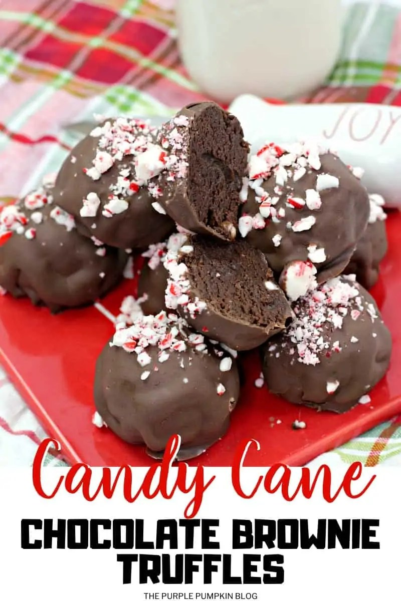Candy Cane Chocolate Brownie Truffles