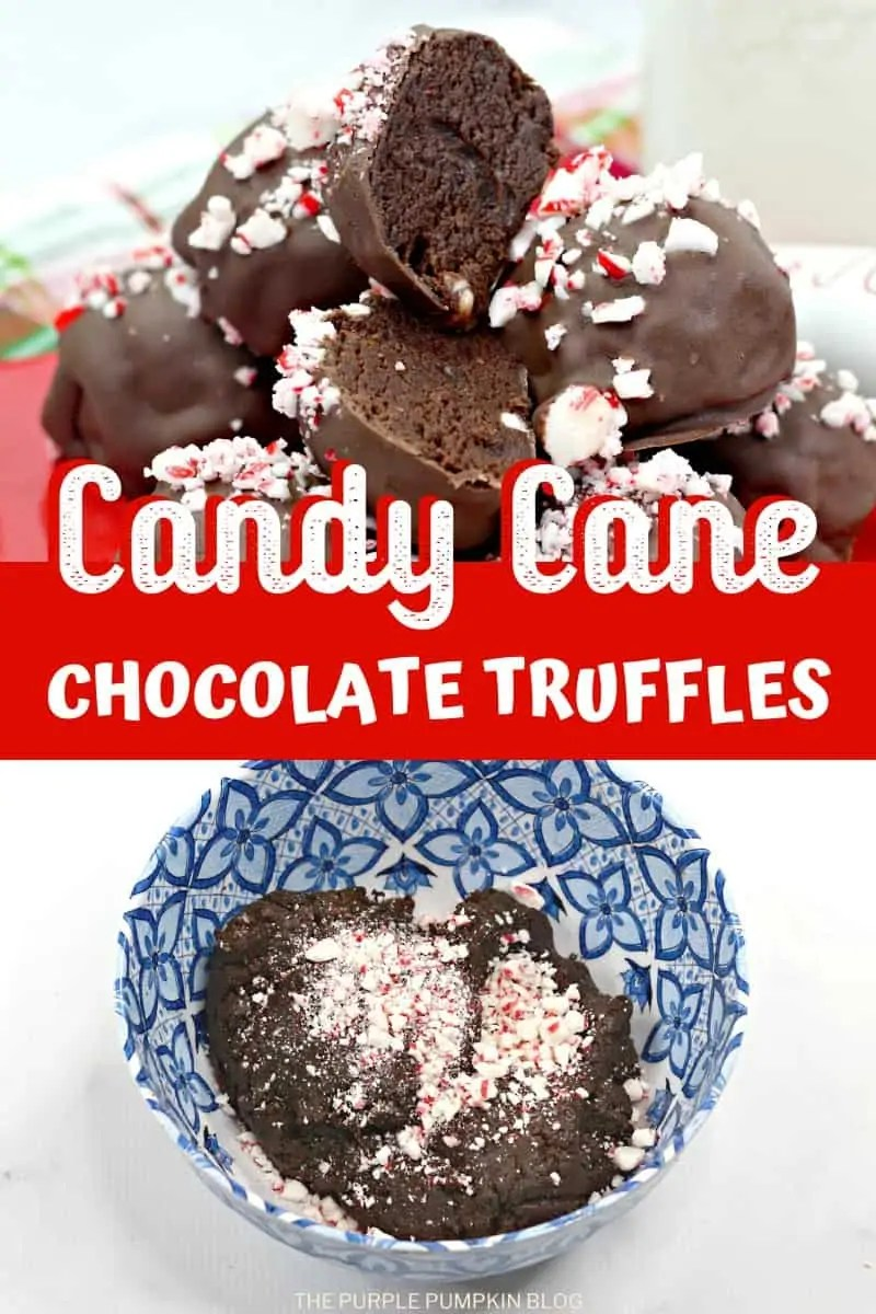 A pile of Candy Cane Chocolate Truffles, with a bowl of truffle dough below.