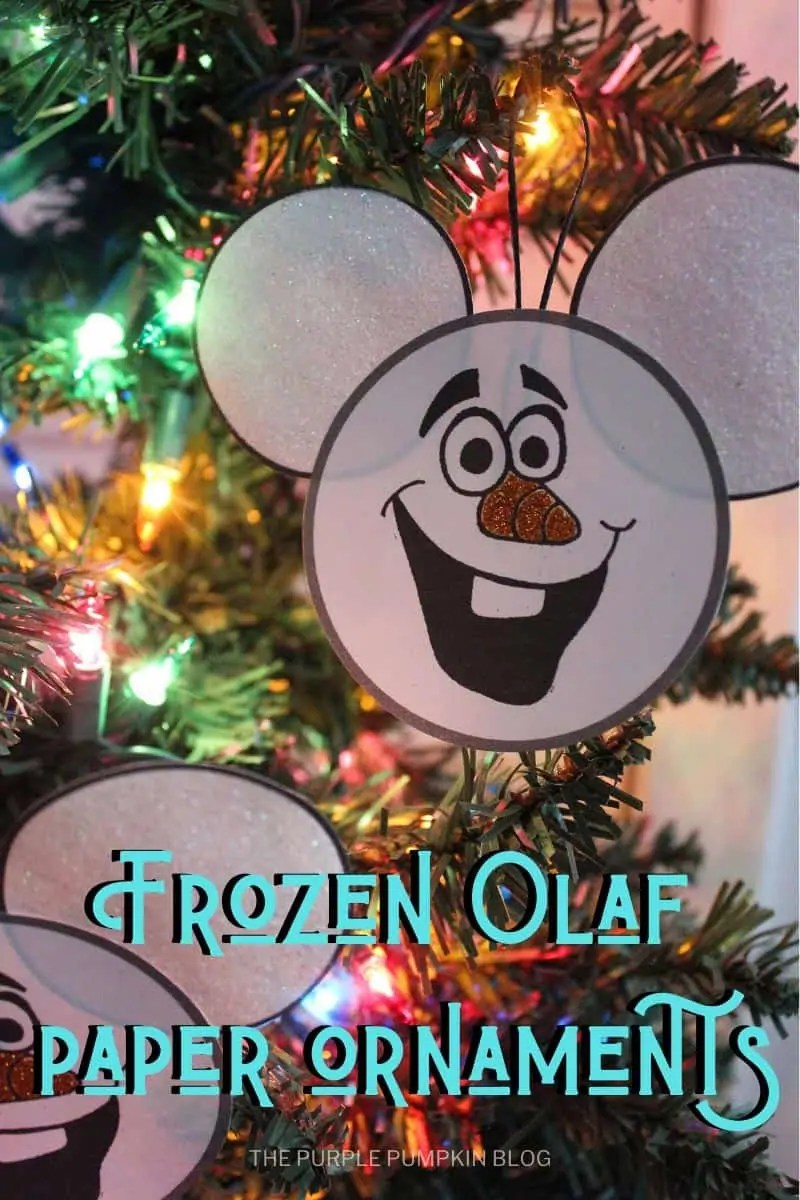 Frozen Olaf ornament hanging in Christmas tree